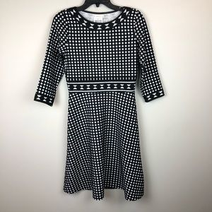 Max Studio Black White Polka Dot Sweater Dress S
